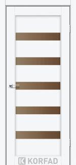 Межкомнатные двери Porto PR-03 Корфад белый перламутр стекло бронза
