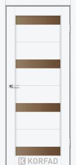 Межкомнатные двери Porto PR-06 Корфад белый перламутр стекло бронза