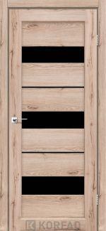 Межкомнатные двери Porto PR-12 Корфад дуб тобакко стекло черное