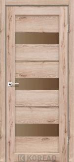 Межкомнатные двери Porto PR-12 Корфад дуб тобакко стекло бронза
