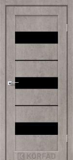 Межкомнатные двери Porto PR-12 Корфад лайт бетон стекло черное