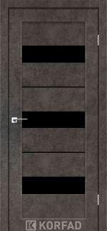 Межкомнатные двери Porto PR-12 Корфад лофт бетон стекло черное
