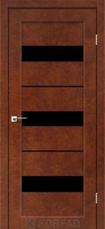 Межкомнатные двери Porto PR-12 Корфад сталь кортен стекло черное
