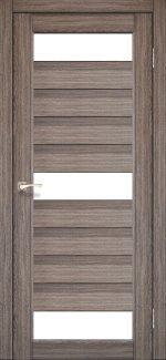 Межкомнатные двери Porto PR-14 Корфад дуб грей стекло Сатин