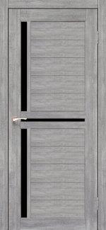 Межкомнатные двери Scalea SC-04 Корфад эш вайт стекло черное