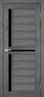 Двери Scalea SC-04 дуб марсала стекло черное