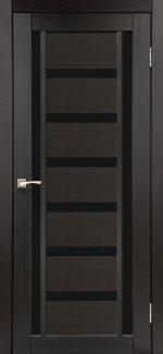 Двери Корфад Valentino Deluxe VLD-02 венге стекло черное
