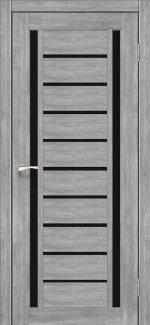 Двери Valentino Deluxe VLD-03 эш вайт стекло черное