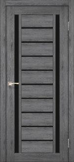 Двери Valentino Deluxe VLD-03 дуб марсала стекло черное