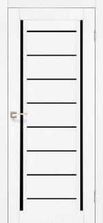 Двери Venecia Deluxe VND-01 Ясень Белый стекло черное
