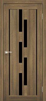 Двери Корфад Venecia Deluxe VND-05 дуб браш стекло черное