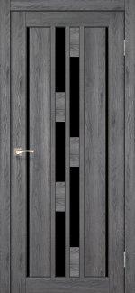 Двери Корфад Venecia Deluxe VND-05 дуб марсала стекло черное
