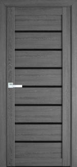Межкомнатные двери Леона Новый Стиль дуб серый стекло черное