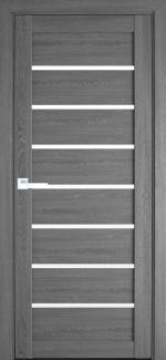 Межкомнатные двери Леона Новый Стиль дуб серый стекло Сатин