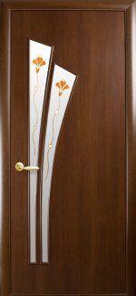 Двери Лилия Новый Стиль орех Премиум со стеклом Р1