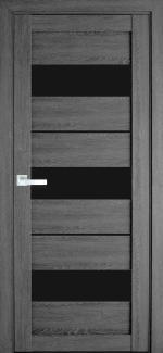 Межкомнатные двери Лилу Новый Стиль дуб серый стекло черное