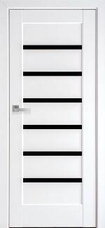Двери Линнея Black Новый Стиль белый мат Премиум стекло черное