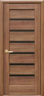 Двері Ліннея Black золота вільха делюкс скло чорне