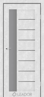 Межкомнатные двери Lorenza Леадор бетон белый стекло Графит