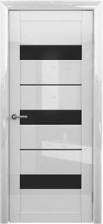 Межкомнатные двери Praga Альберо белый глянец стекло черное