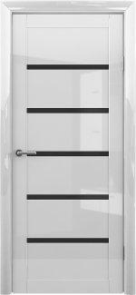 Межкомнатные двери Vena-Flora Альберо белый глянец стекло черное