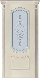 Межкомнатные двери Модель 41 Каро Термінус ясень crema емаль зі склом 5