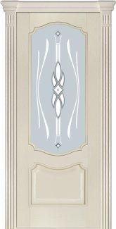 Межкомнатные двери Модель 41 Каро Термінус ясень crema емаль зі склом 9