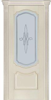 Межкомнатные двери Модель 41 Каро Термінус ясень crema емаль зі склом