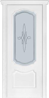 Межкомнатные двери Модель 41 Каро Термінус ясень білий емаль зі склом 3