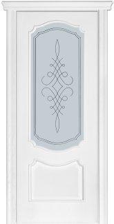 Двери Модель 41 Каро Терминус ясень белый Эмаль со стеклом 05