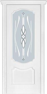 Двери Модель 41 Каро Терминус ясень белый Эмаль со стеклом 09