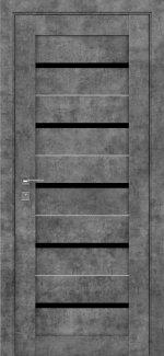Межкомнатные двери Modern Lazio Родос серый мрамор полустекло черное