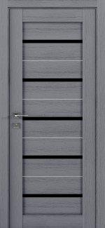 Межкомнатные двери Modern Lazio Родос каштан серый полустекло черное
