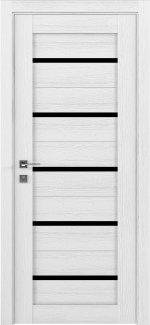 Межкомнатные двери Modern Lazio Родос каштан белый полустекло черное
