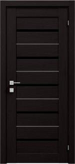 Межкомнатные двери Modern Lazio Родос венге шоколадный полустекло черное