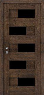 Двери Modern Verona акация темная полустекло черное