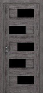 Межкомнатные двери Modern Verona Родос дуб шале графит полустекло черное