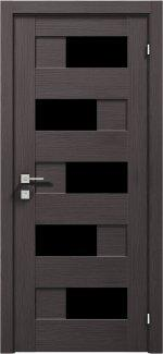 Межкомнатные двери Modern Verona Родос графит полустекло черное