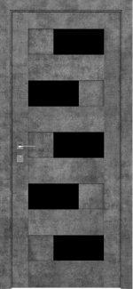 Межкомнатные двери Modern Verona Родос серый мрамор полустекло черное