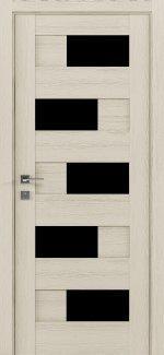 Межкомнатные двери Modern Verona Родос каштан беж полустекло черное
