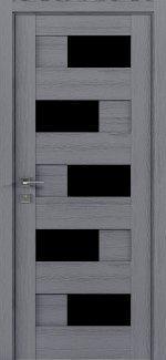 Межкомнатные двери Modern Verona Родос каштан серый полустекло черное