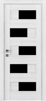 Межкомнатные двери Modern Verona Родос каштан белый полустекло черное
