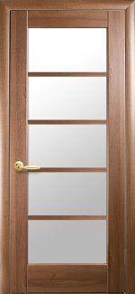 Межкомнатные двери Муза Новый Стиль золотая ольха делюкс стекло Сатин