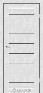 Межкомнатные двери Neapol Леадор бетон белый стекло черное