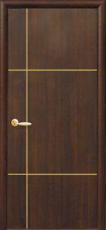 Двери Ника Новый Стиль каштан Делюкс глухая с гравировкой