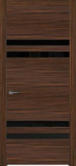 Межкомнатные двери Двері Ріо НСД молочний шоколад скло чорне
