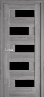 Межкомнатные двери Пиана Новый Стиль бук пепельный делюкс стекло черное