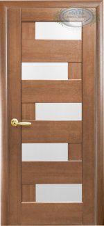 Межкомнатные двери Пиана Новый Стиль золотая ольха делюкс стекло Сатин