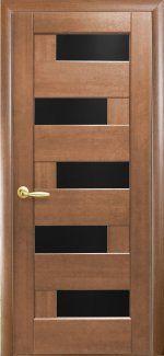 Межкомнатные двери Пиана Новый Стиль золотая ольха делюкс стекло черное