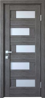 Двери Пиана Новый Стиль грей Делюкс со стеклом Сатин